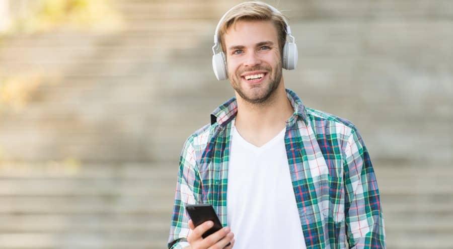 Man enjoying podcast