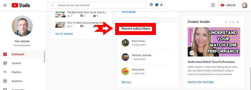 How to find recent subscribers YouTube