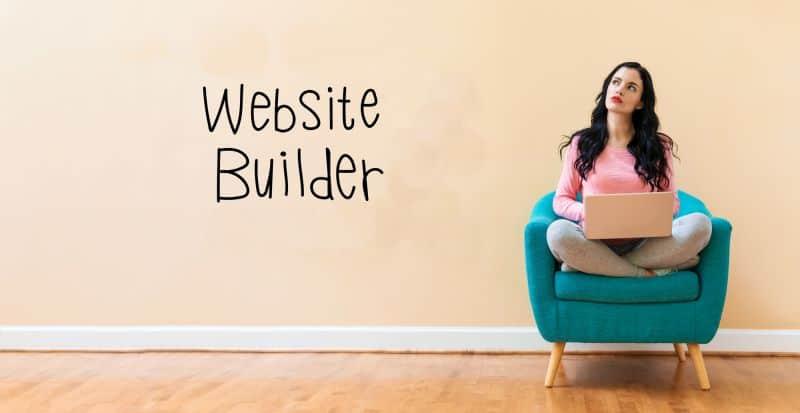 Woman using a website builder