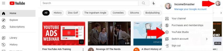 screenshot YouTube subscribers
