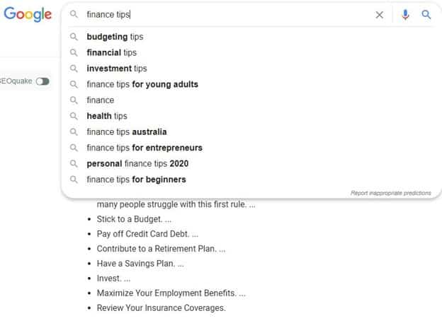 Finance tips search Google