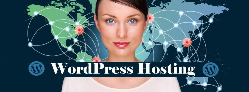Wordpress Hosting women with map in background